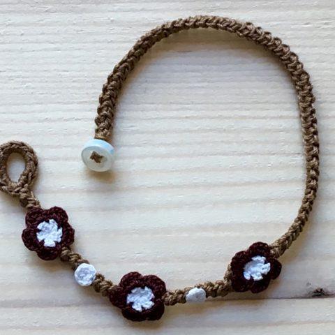 Braunes Armband mit Blume Primitivo Rot