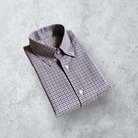 Grau Bordeaux Flanellhemd mit Button Down Kragen