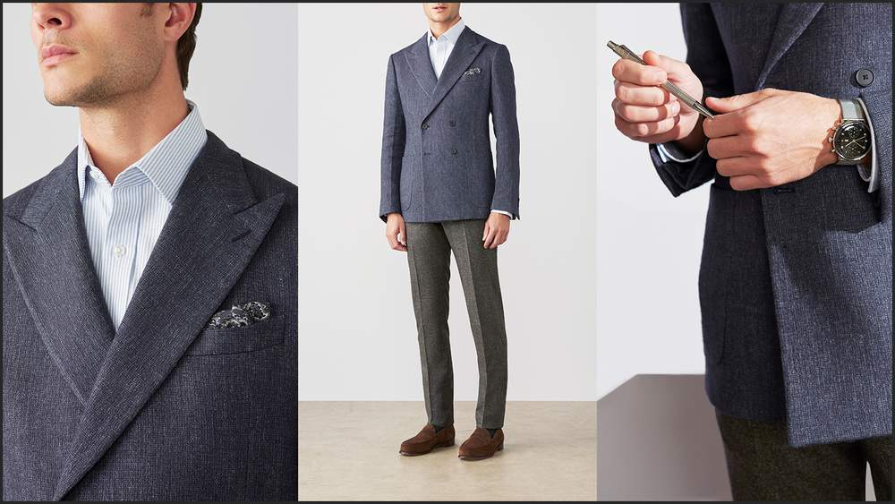 Klassischer Doppelreiher mit Hemd, typischer Büro Dresscode